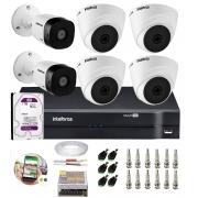 Kit 6 Câmeras Segurança Mista 4 Dome + 2 Bullet HD 720p VHD 1010 G6 + DVR de 8 Canais e HD 1TB