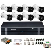 Kit 8 Câmeras de Segurança HD 720p Intelbras VHD 1010B G6 + DVR Intelbras Multi HD + Acessórios