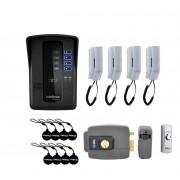 Kit Porteiro Eletrônico Coletivo de 4 Pontos, Fechadura HDL e Botão