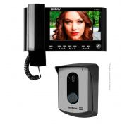 "Kit Vídeo Porteiro Interfone Intelbras IV 7010 HS Preto Tela LCD 7"""