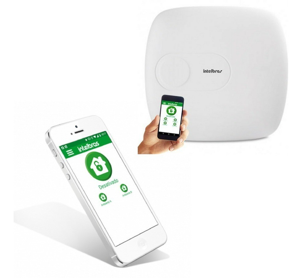 Central de alarme monitorada Intelbras 4010 SMART NET até 64 zonas.