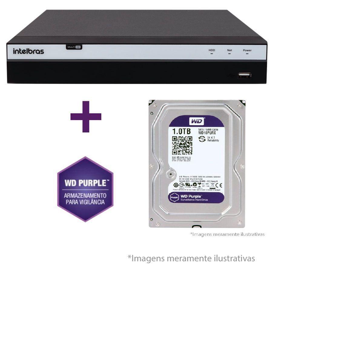 DVR Stand Alone Intelbras MHDX 3116 16 Canais Full HD 1080p Multi HD + 08 Canais IP 5 Mp + HD WD Purple 1TB