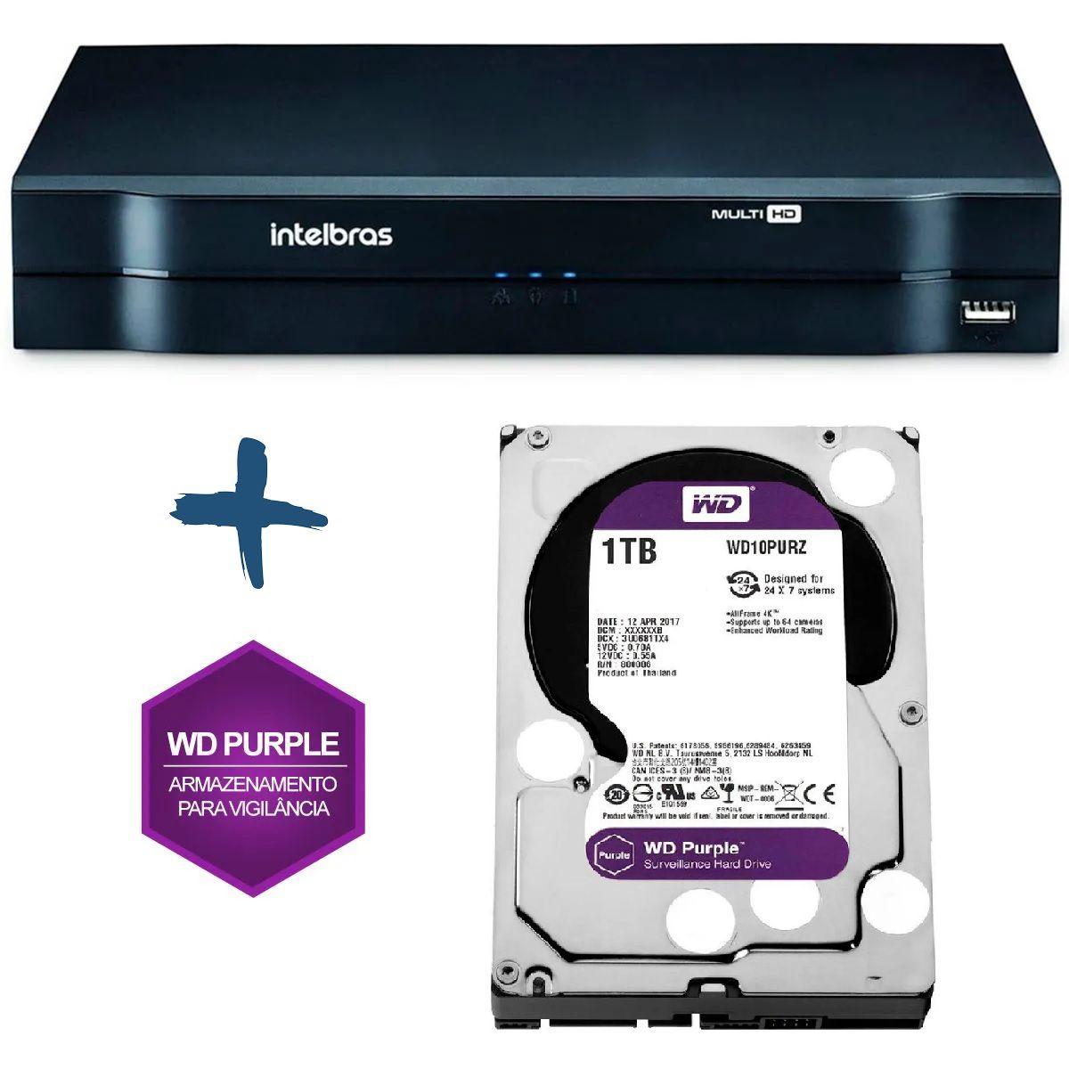 DVR Stand Alone Multi HD Intelbras MHDX-1104 4 Canais + HD 1-TB WD Purple de CFTV