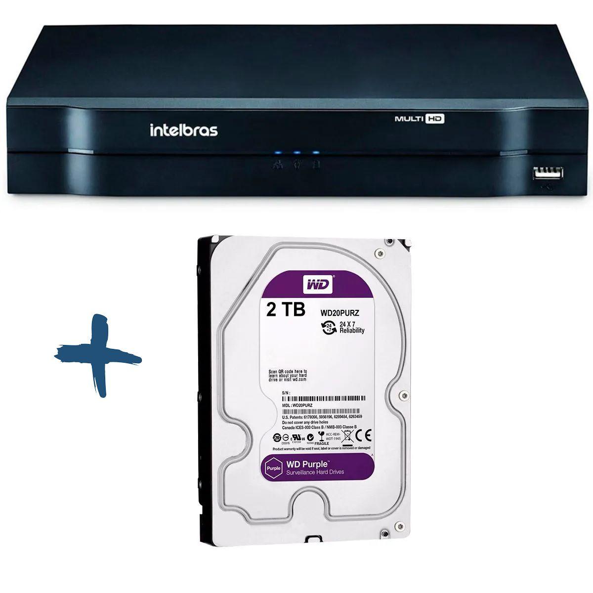 DVR Stand Alone Multi HD Intelbras MHDX-1116 16 Canais + HD 2TB WD Purple de CFTV