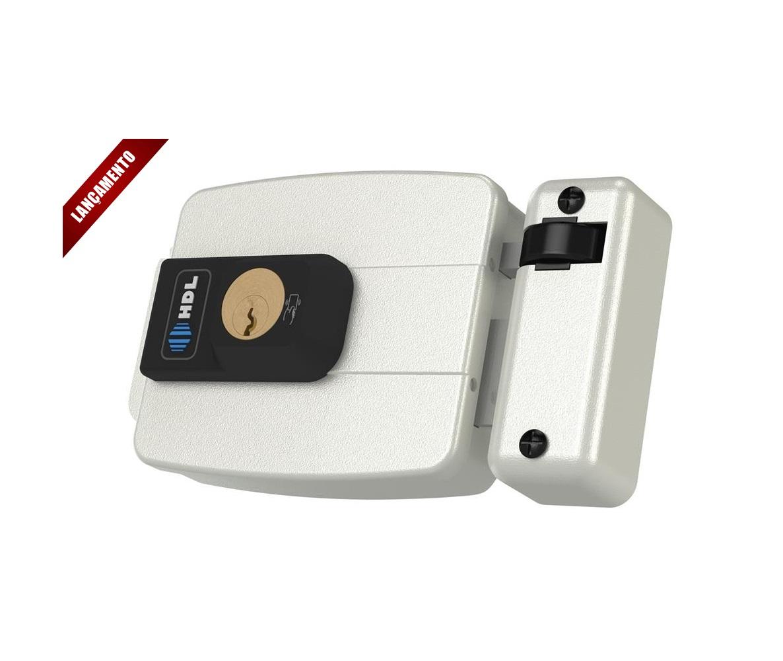 Fechadura HDL Elétrica C90 Branca Com Controle de Acesso Fixa Ajustável