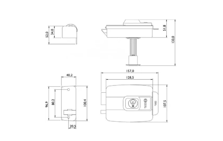Fechadura HDL Elétrica C90 c/ Botão Cilindro Ajustável - Preta