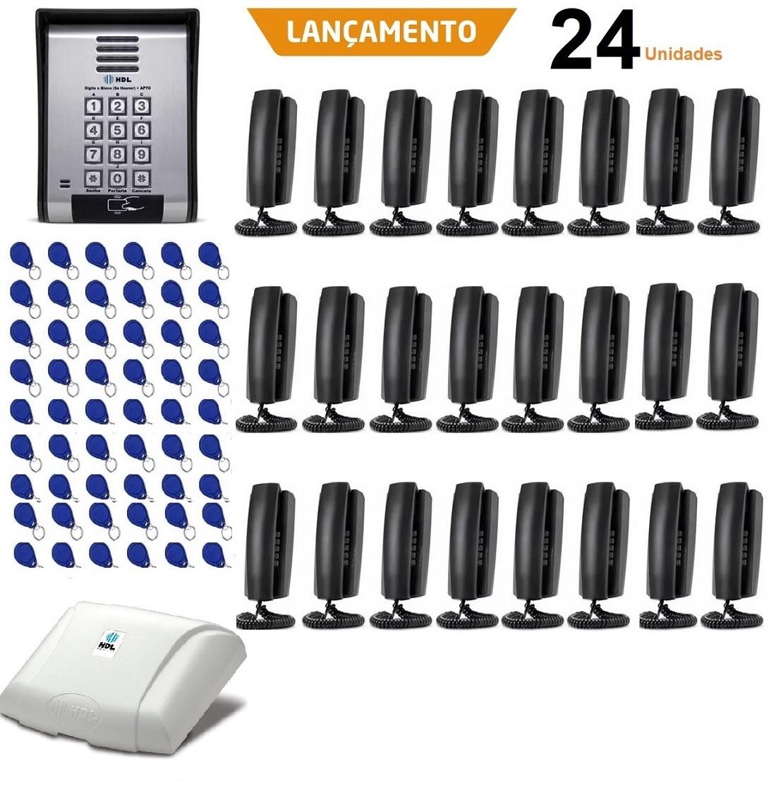 Interfone Coletivo HDL 24 Pontos e Controle de Acesso Cartão Tag