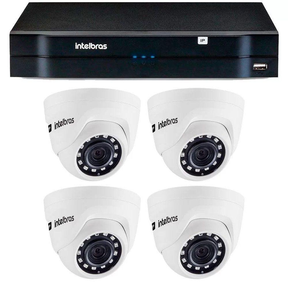 Kit 04 Câmeras IP HD 720p Intelbras VIP 1020 D + NVD 1304