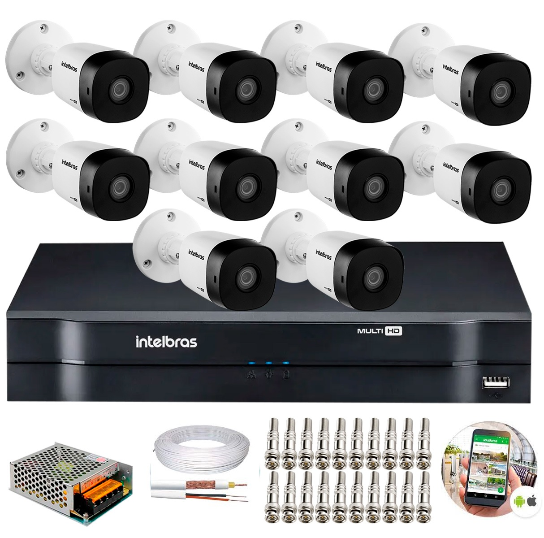 Kit 10 Câmeras de Segurança HD 720p Intelbras VHD 3120 B G6 + DVR Intelbras Multi HD + Acessórios