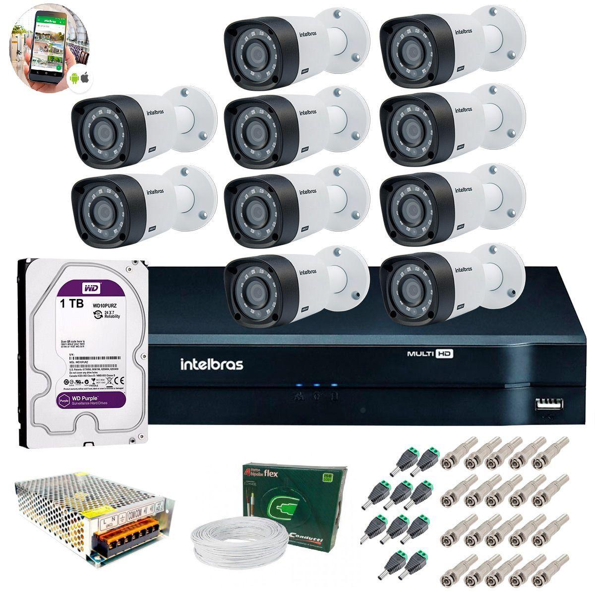 Kit 10 Câmeras de Segurança HD 720p Intelbras VHD 3120B G5 + DVR Intelbras Multi HD C/HD 1TB + Acessórios
