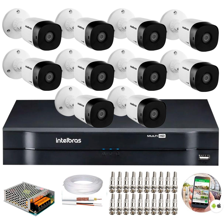 Kit 10 Câmeras de Segurança intelbras Full HD 1080p VHD 1220B IR + DVR 16 Canal + Acessórios