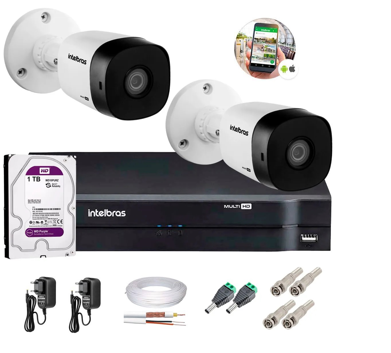Kit 2 Câmeras de Segurança HD 720p Intelbras VHD 1010B G6 e DVR Multi HD C/ HD 1-TB e Acessórios