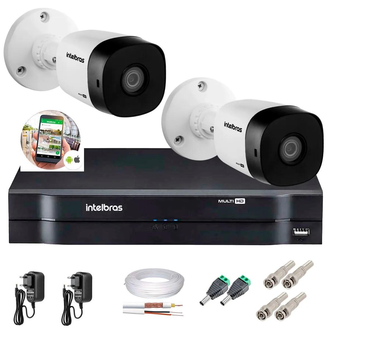 Kit 2 Câmeras de Segurança HD 720p Intelbras VHD 3120 B G6 + DVR Multi HD + Acessórios