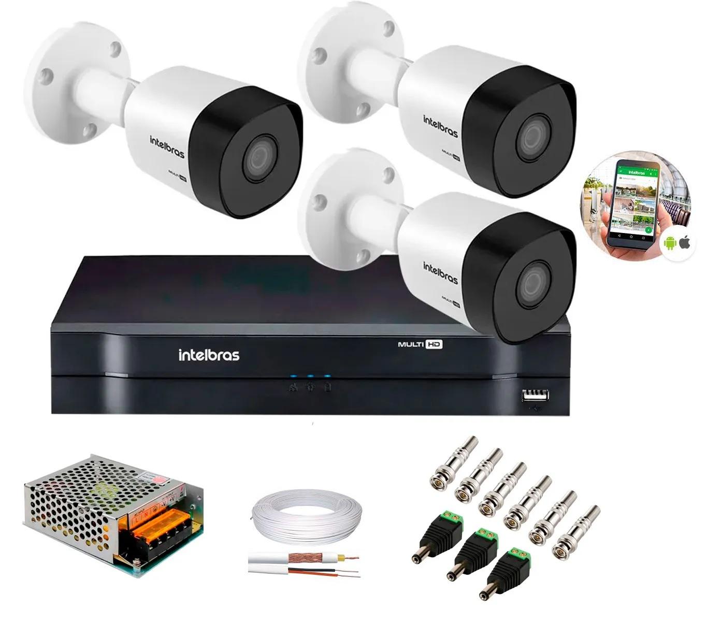 Kit 3 Câmeras de Segurança HD 720p Intelbras VHD 1010 B G6 DVR Multi HD de 4 Canais e Acessórios