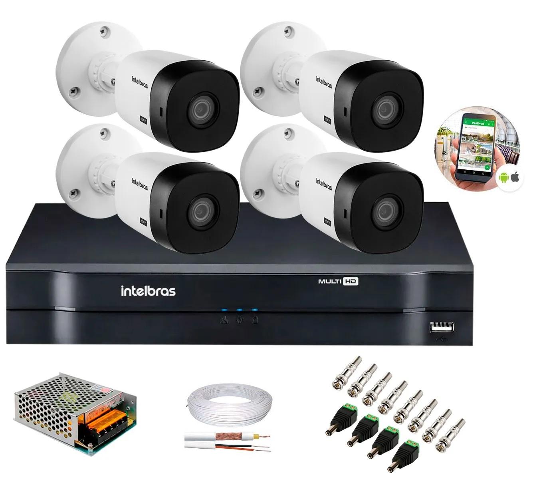 Kit 4 Câmeras de Segurança HD 720p Intelbras VHD 3130 B G6 DVR 4 Canais Multi HD e Acessórios