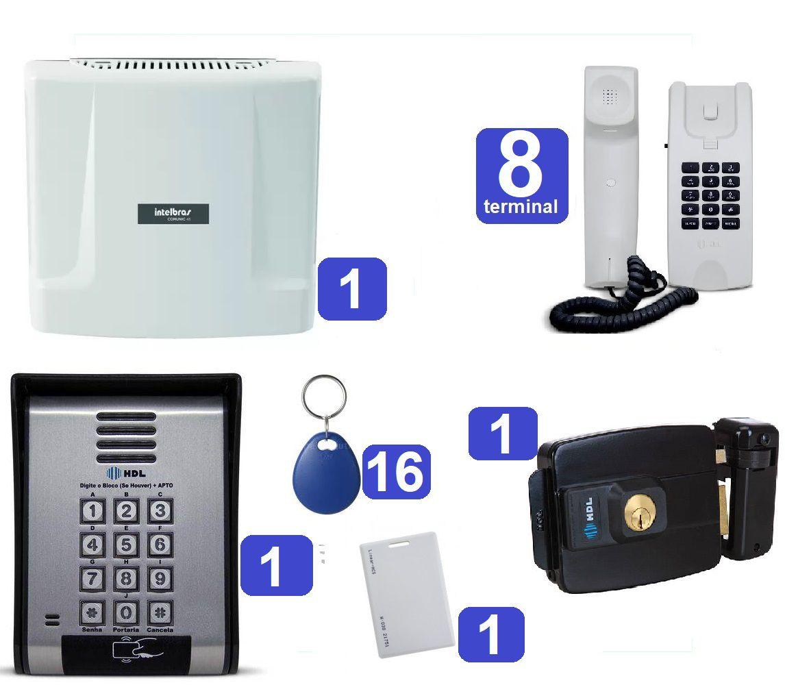 Kit Central de Interfone Condomínio 16 Ramais Comunic 16 + 8 Terminais, Porteiro F-12 SCA e Fechadura HDL