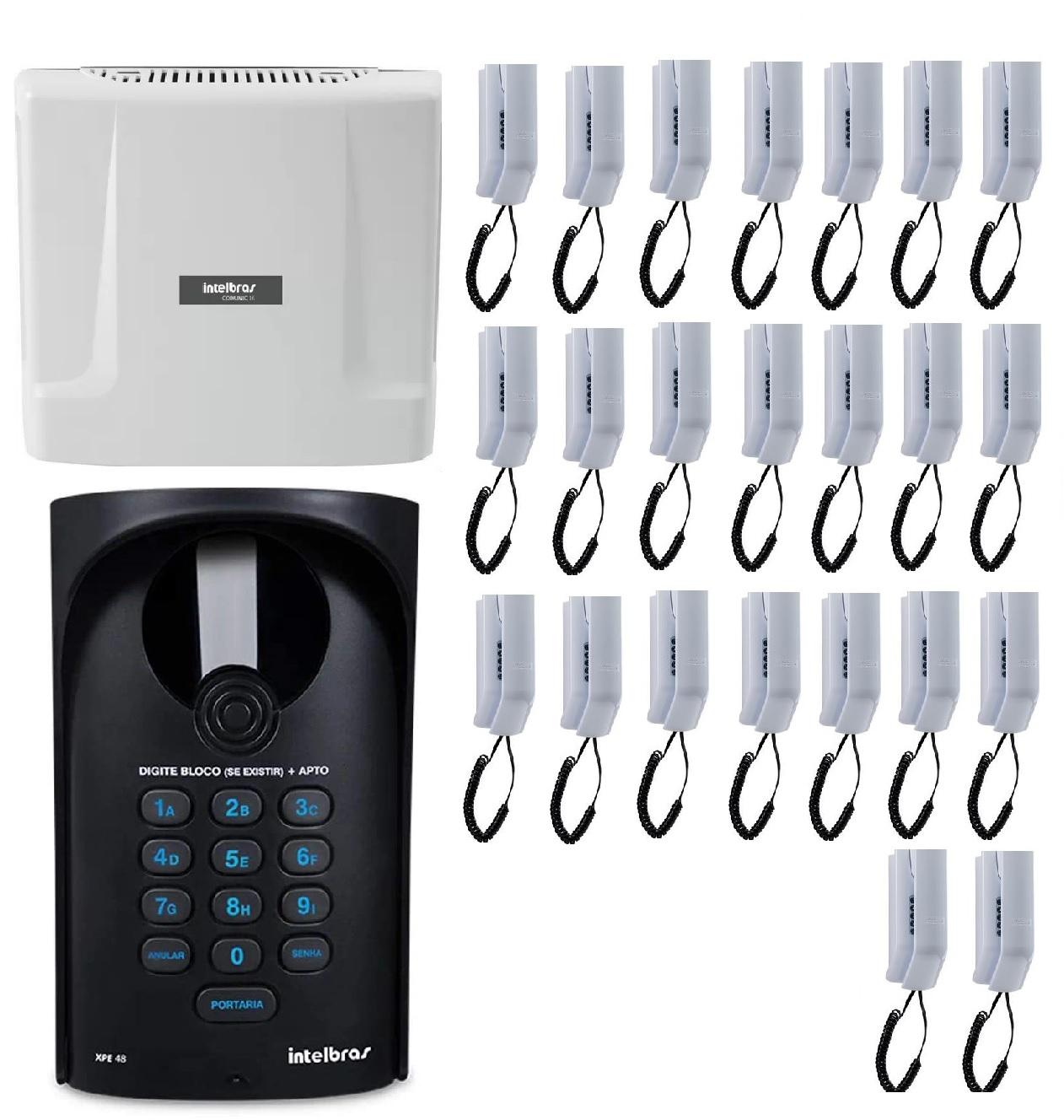 Kit Central de Interfone Condomínio 32 Ramais Comunic 48 + 32 Terminais + Porteiro XPE 48