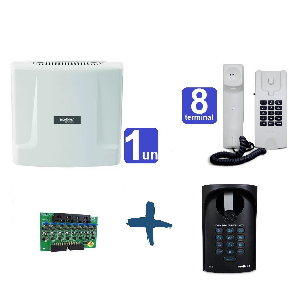 Kit Central de Interfone Condomínio 16 Ramais Comunic 16 + 8 Terminais e Porteiro XPE-48