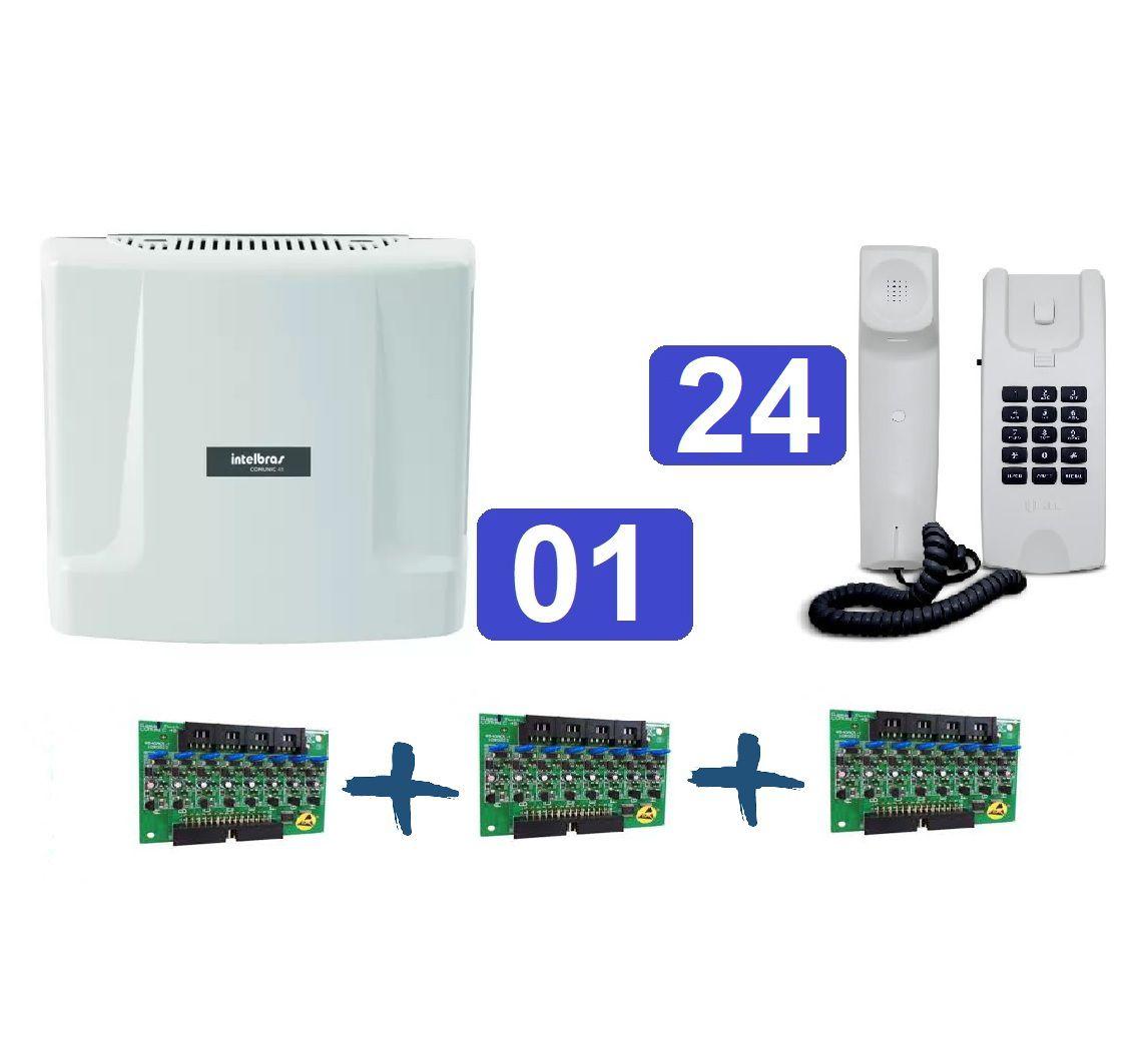 Kit Central de Interfone Condomínio com 24 Ramais Comunic 48 + Terminais HDL