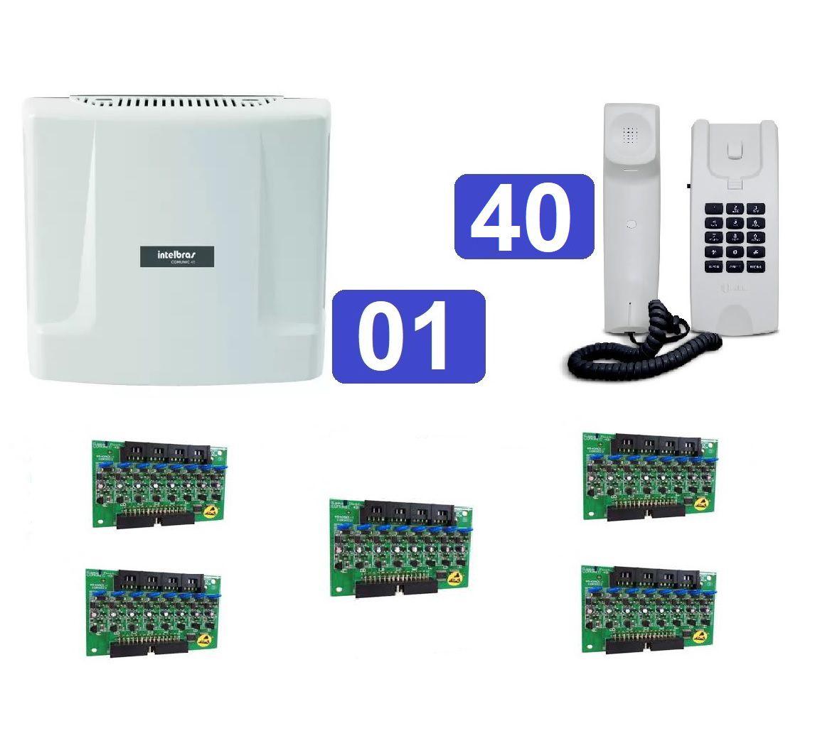 Kit Central de Interfone Condomínio com 40 Ramais Comunic 48 + Terminais HDL