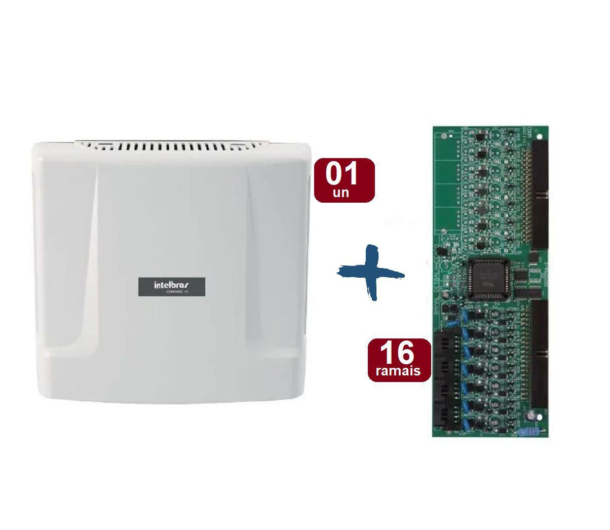 Kit Central de Interfonia e Comunicação Condominial + Placa P/ 16 Ramais - Intelbras Comunic 48