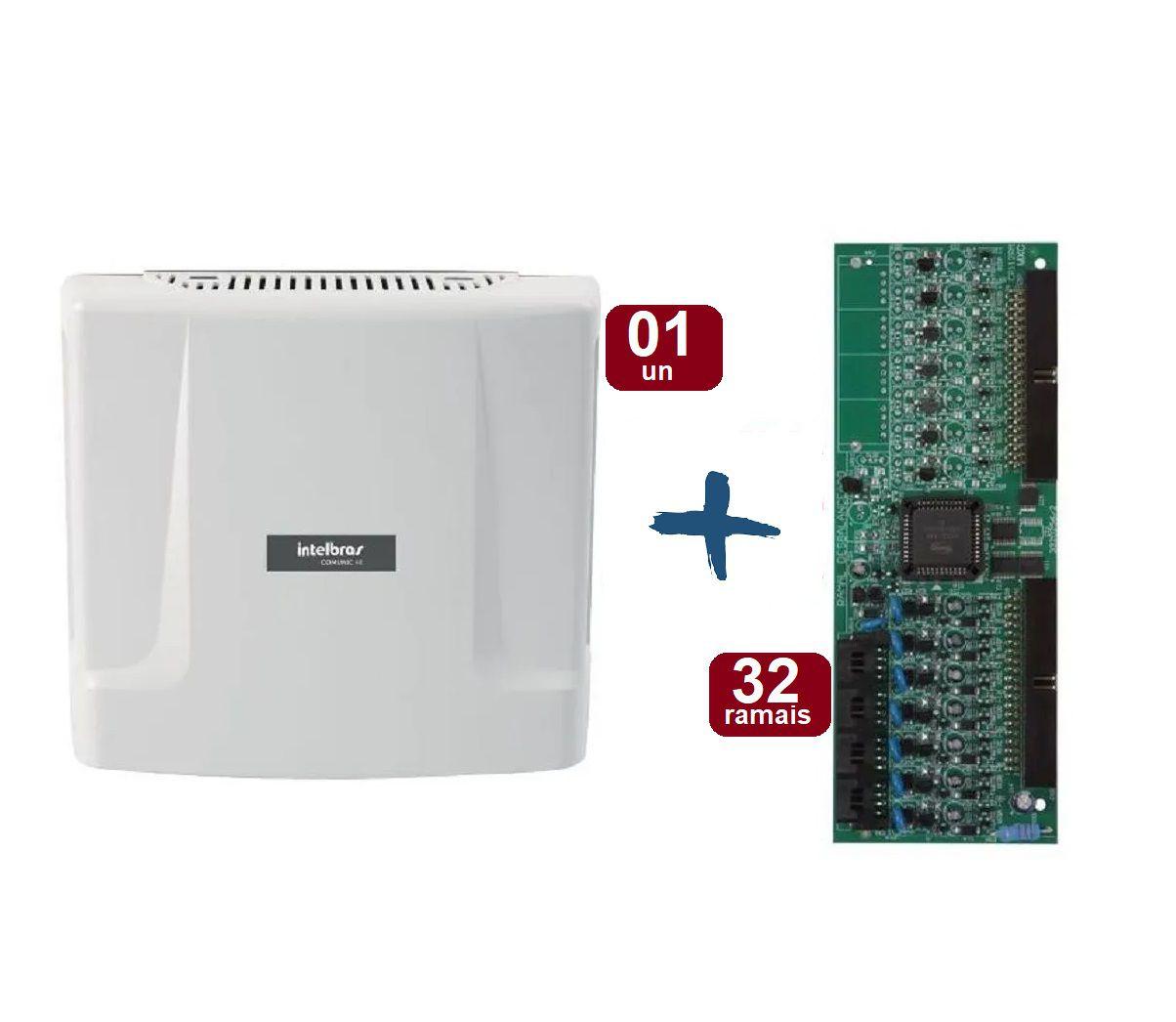 Kit Central De Interfonia E Comunicação Condominial + Placa P/ 32 Ramais - Intelbras Comunic 48