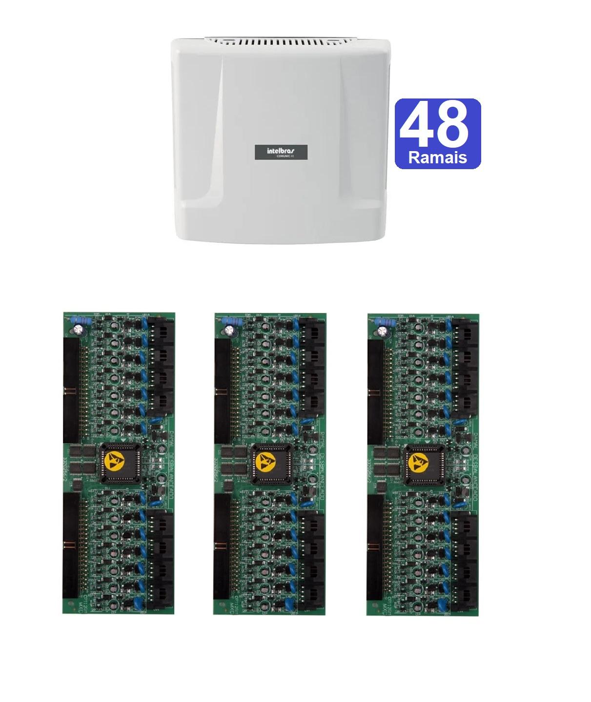 Kit Central De Interfonia e Comunicação Condominial + Placa P/ 48 Ramais - Intelbras Comunic 48