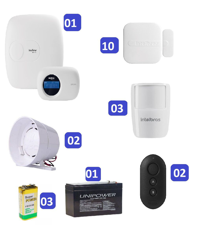 Kit de Alarme Intelbras AMT 2018 E c/ 13 Sensores e Monitoramento Por Aplicativo via Internet Sem Fio
