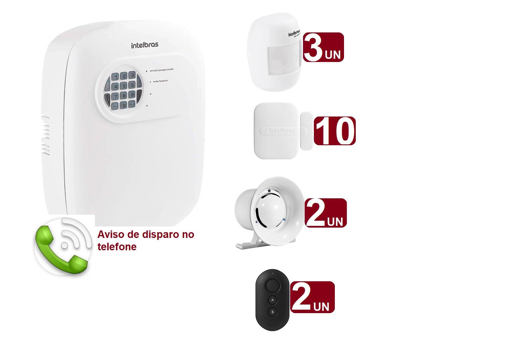 Kit de Alarme Intelbras ANM 3004 ST c/ 13 Sensores e Discadora por Telefone fixo Sem Fio