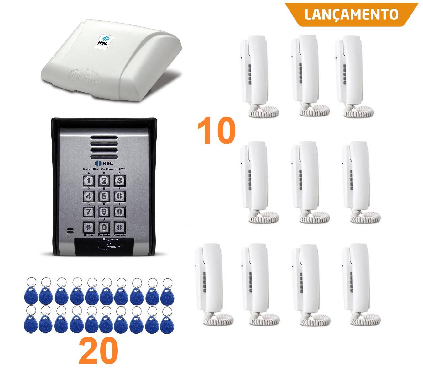 Kit interfonia completo HDL 10 terminal, porteiro eletrônico com controle de acesso