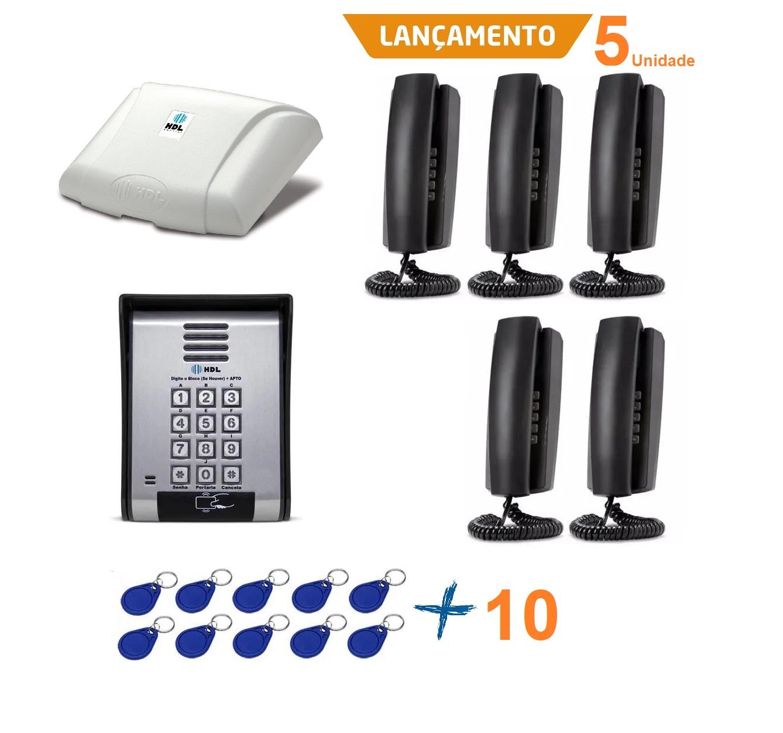 Kit interfonia HDL completo C/ 5 terminal, porteiro eletrônico e Tag de acesso