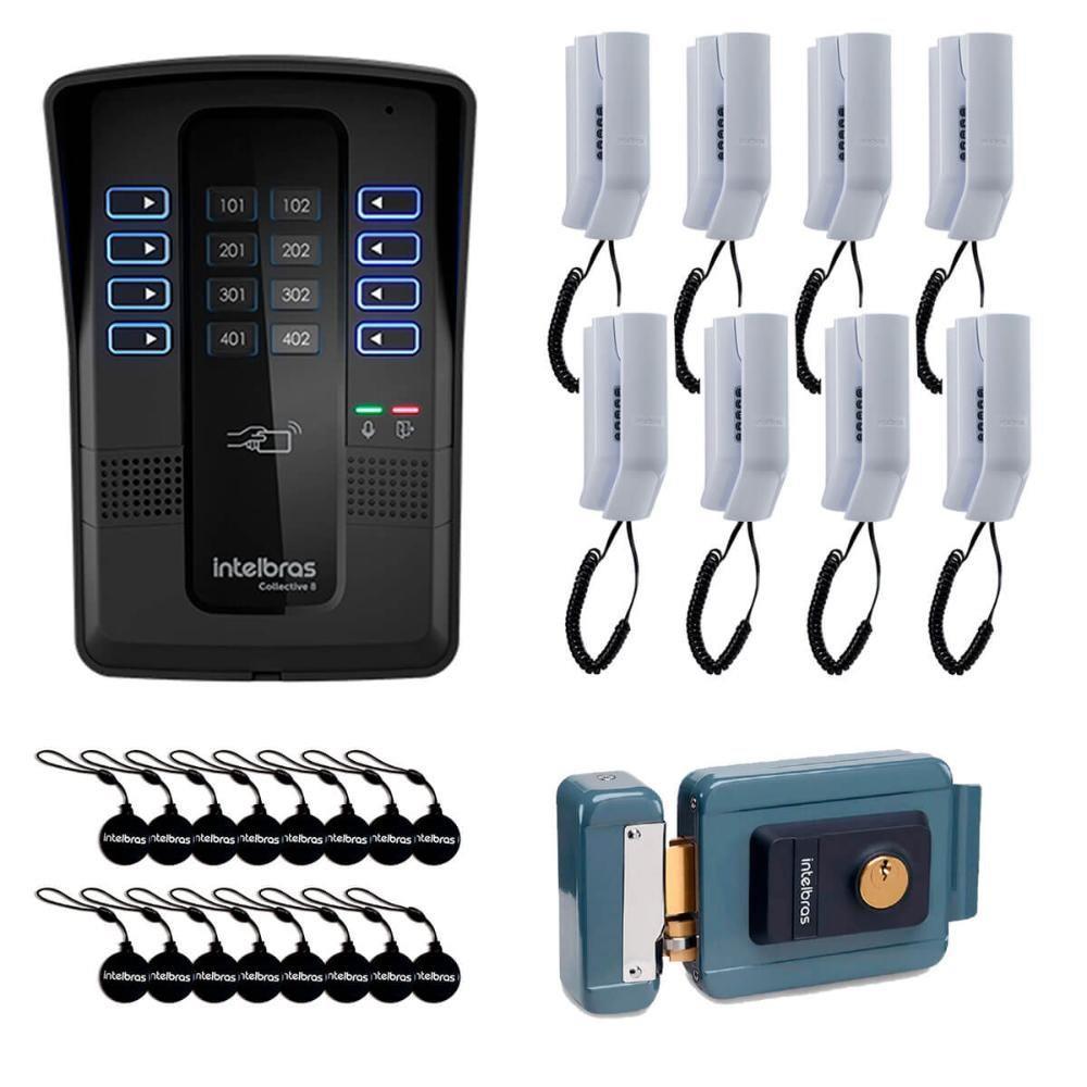 Kit Porteiro Eletrônico Coletivo 8 Pontos Monofone e Fechadura Intelbras