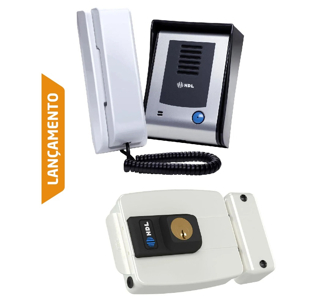 kIt Porteiro Eletrônico HDL F9 S Função Siga-me Externo e Fechadura Branca C-90 HDL