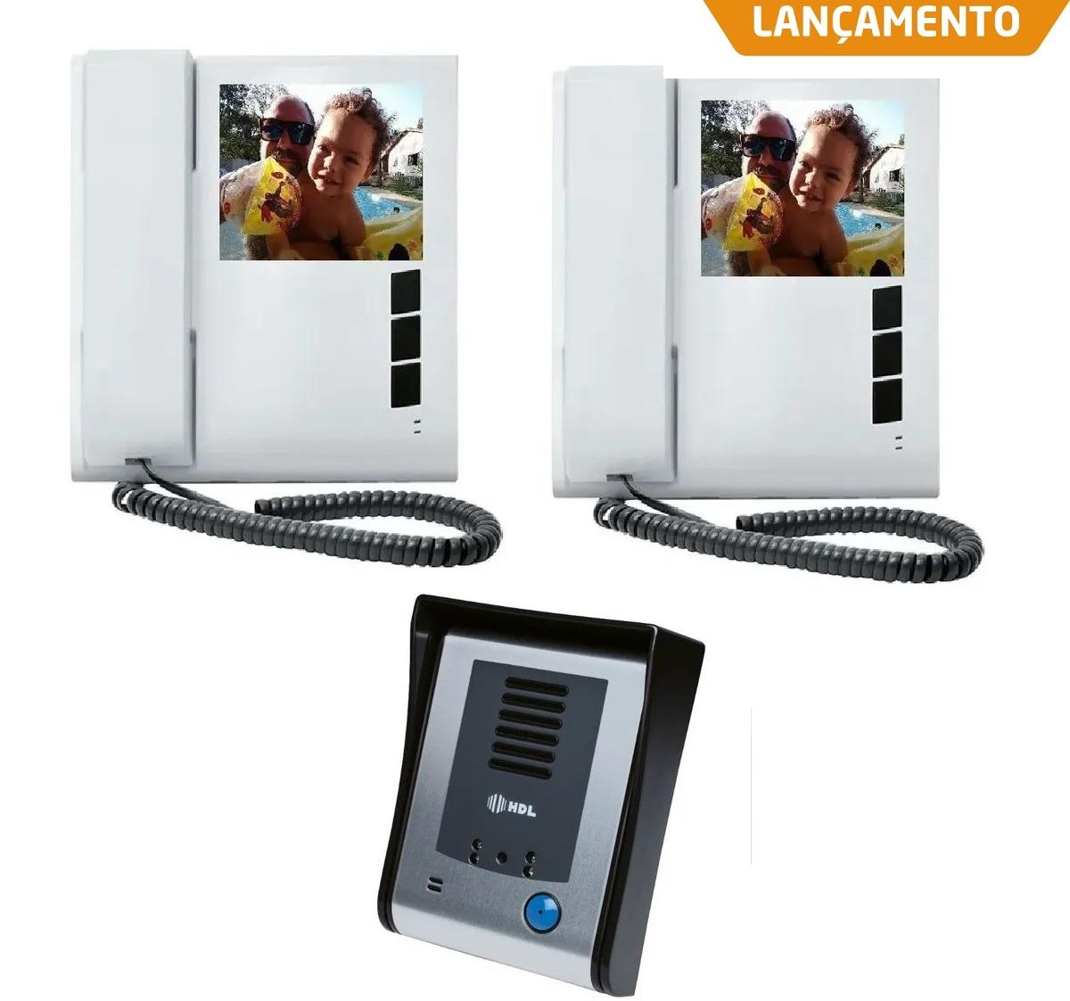 Kit Video Porteiro Eletrônico HDL Sense Classic S Colorido Com 2 Monitores