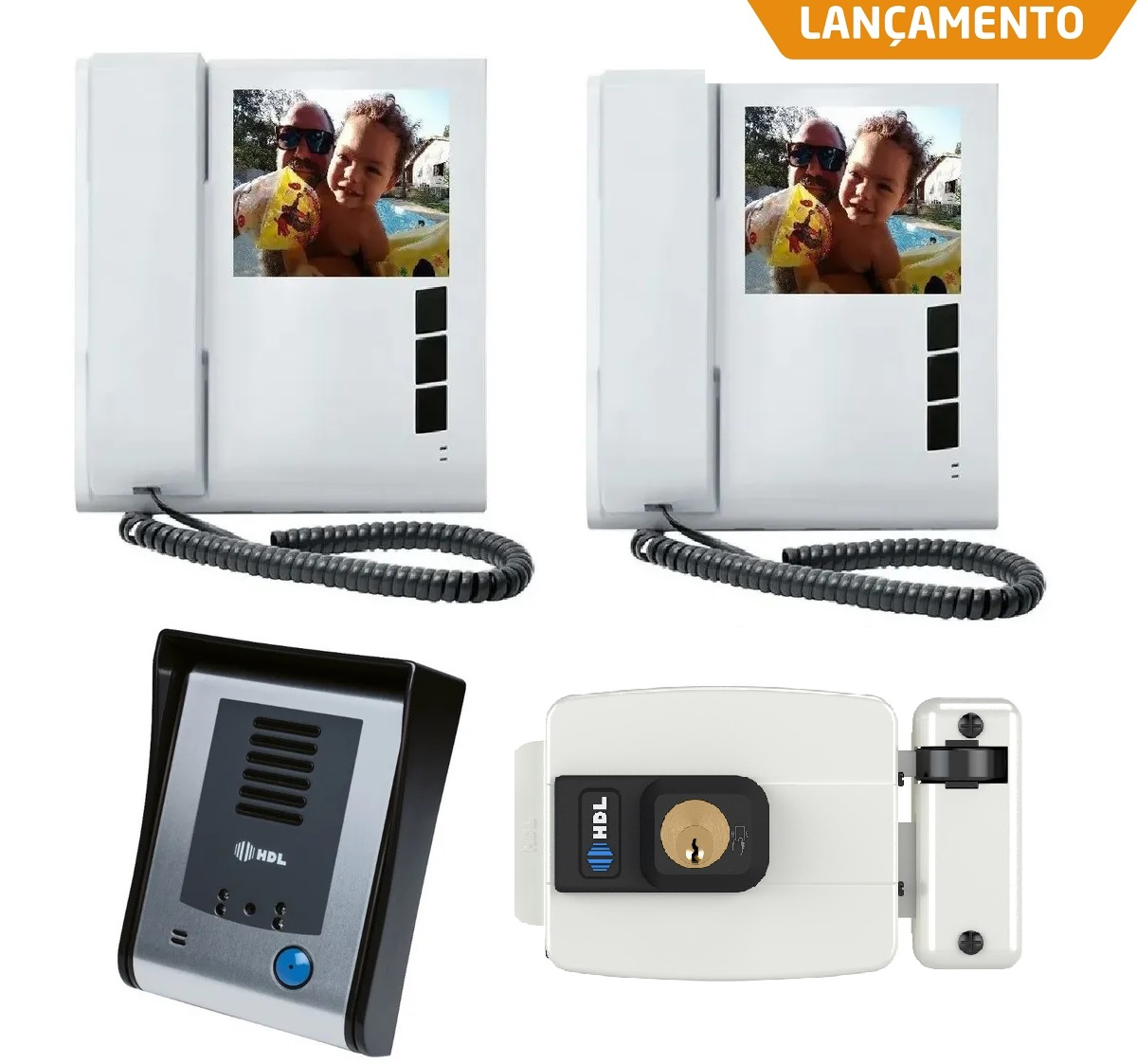 Kit Vídeo Porteiro HDL Sense Classic S Colorido Com 2 Monitores e Fechadura