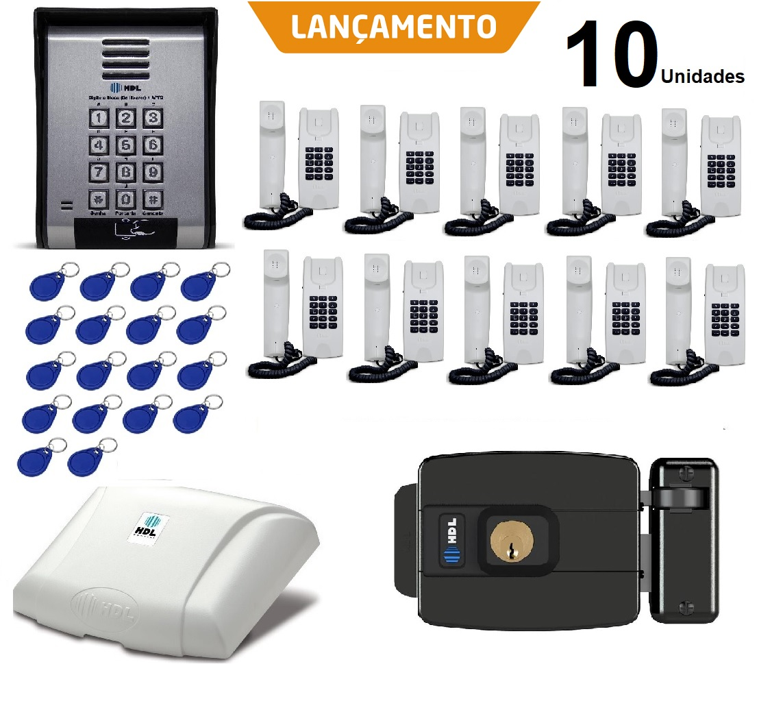 Porteiro Coletivo 10 Ponto C/ Fechadura Controle De Acesso Hdl e 20 TAGS