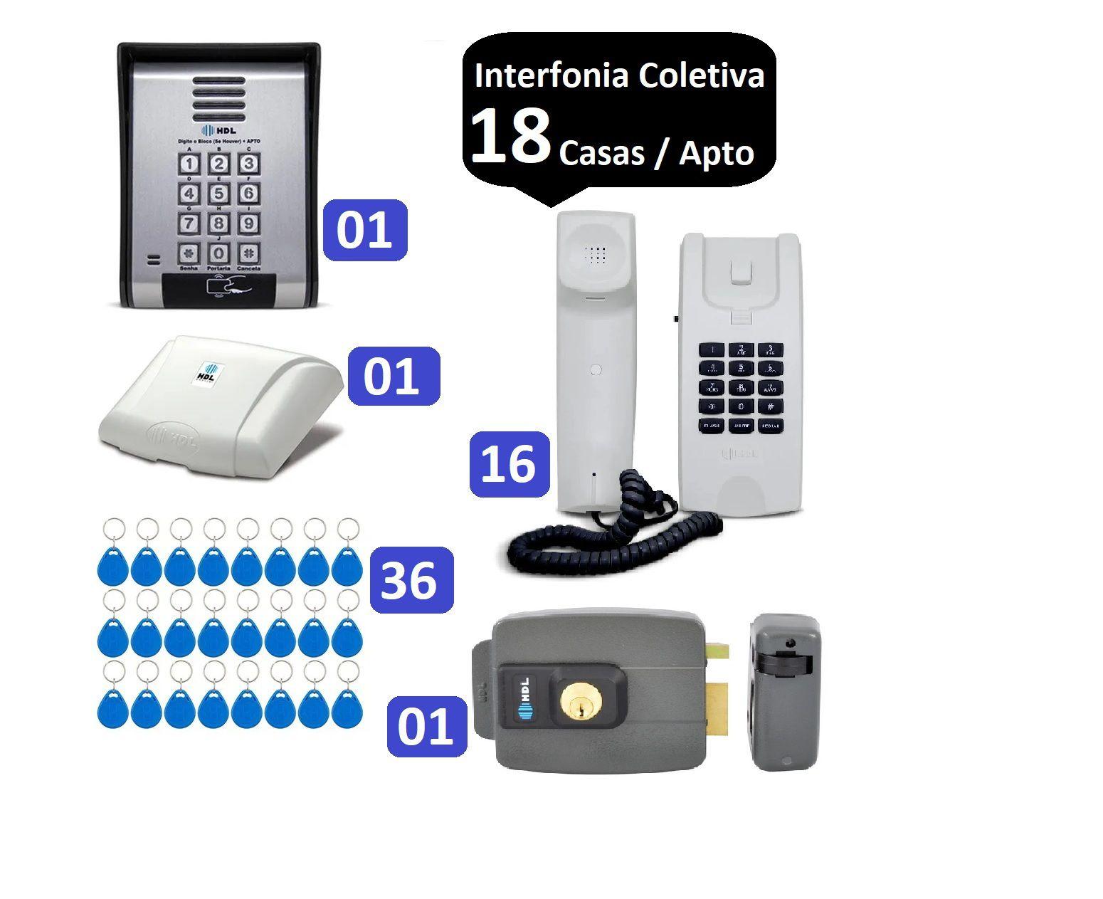 Porteiro Coletivo 18 Ponto C/ Fechadura HDL C/ Controle De Acesso e 36 TAGS