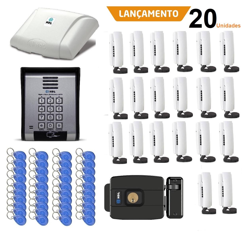 Porteiro Coletivo 20 Pontos C/ Fechadura Controle De Acesso Hdl e 40 TAGS