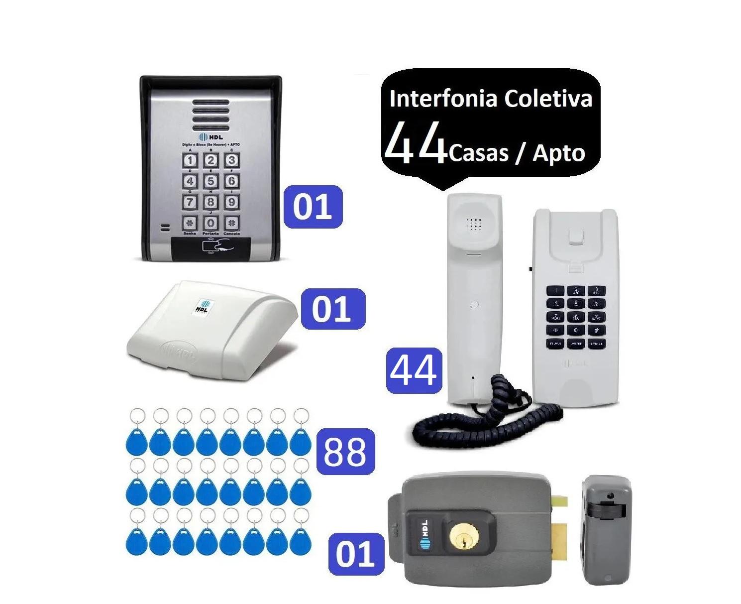 Porteiro Coletivo 44 Pontos C/ Fechadura Controle De Acesso HDL e 88 TAGS