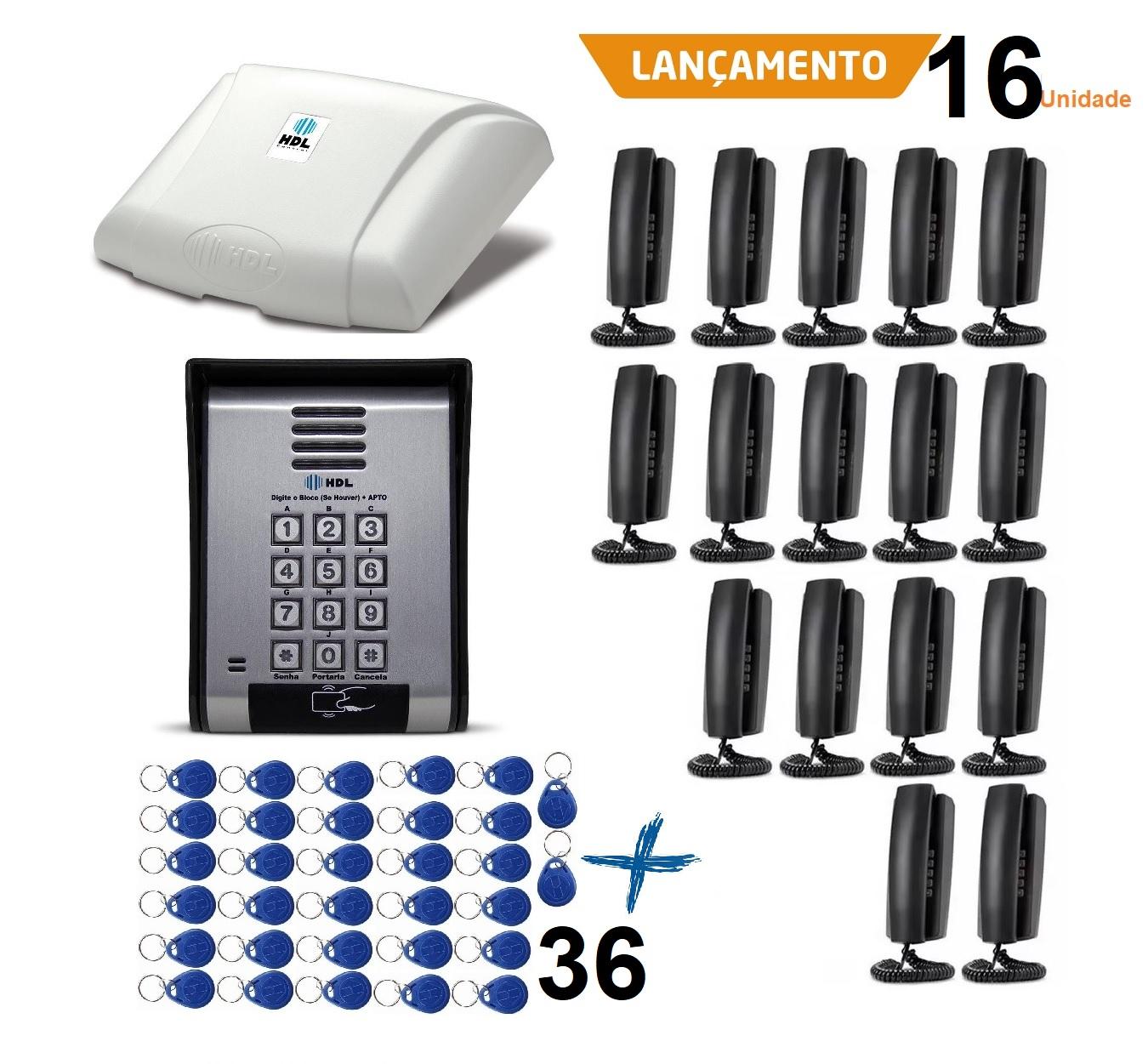 Porteiro Eletrônico Hdl Coletivo 16 Pontos Leitor Cartão Tag