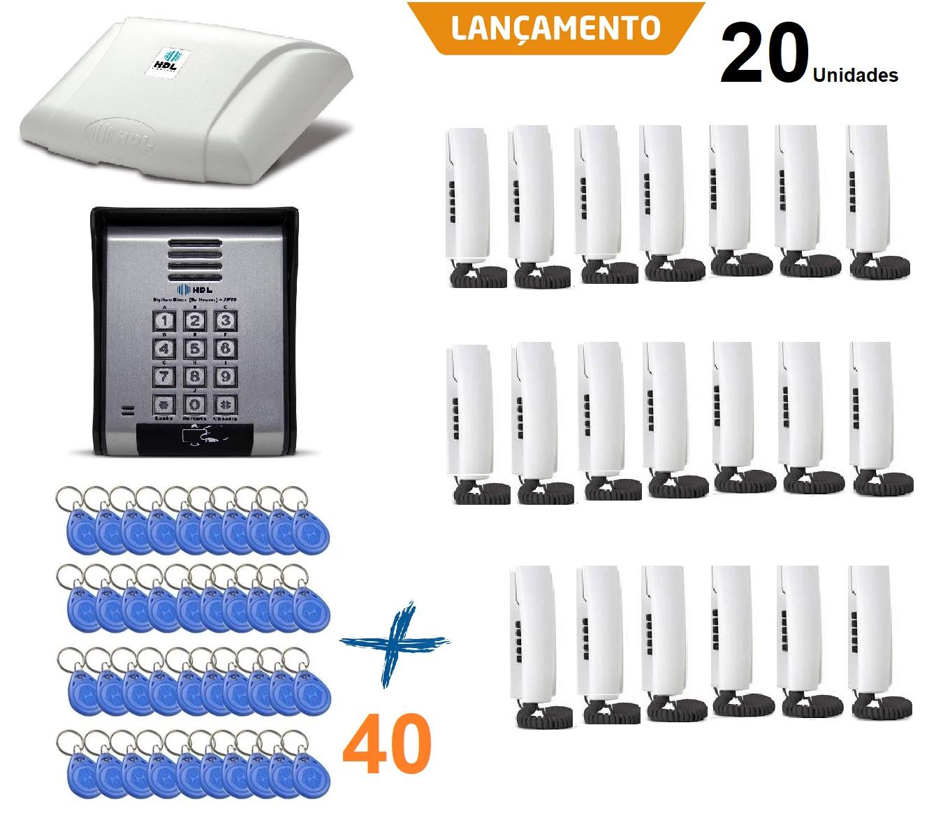Porteiro Eletrônico Hdl Coletivo 20 Pontos 40 Cartão Tag