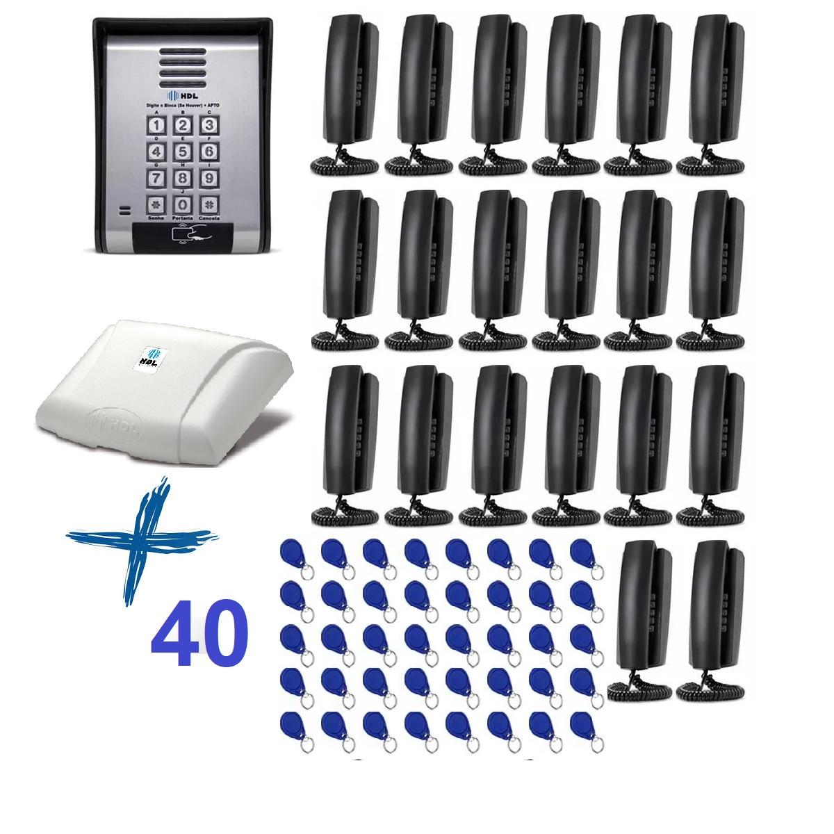 Porteiro Eletrônico HDL Coletivo 20 Pontos e 40 Tag Para Controle de Acesso