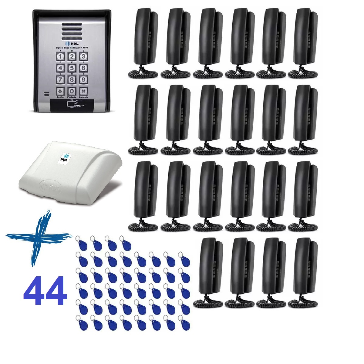 Porteiro Eletrônico HDL Coletivo 22 Pontos e 44 Controle de Acesso Tag