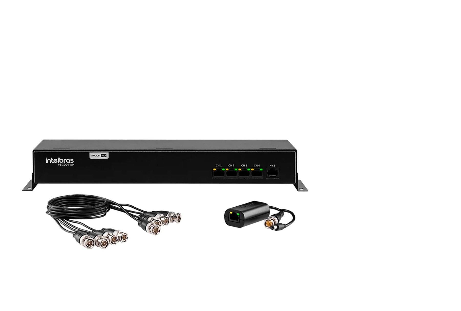 Power Balun de 4 Canais Intelbras VB 3004 WP - Resolução 4k, Vídeo e Alimentação via Cabo UTP.