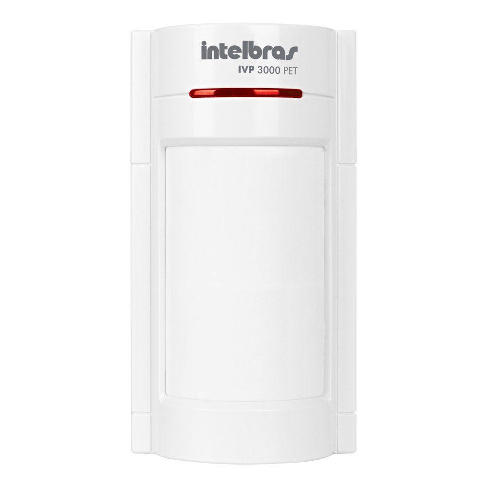 Sensor de Presença Infravermelho IVP 3000 PET Intelbras Com Fio Duplo PIR, 2 níveis de sensibilidade.