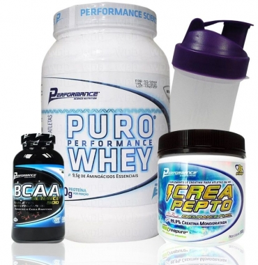 Kit Performance Puro Whey 900g + Creatina 300g + BCAA 200 caps (BRINDE)