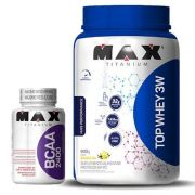 Kit Top Whey 3W - 900g + BCAA 2400 - 60 Caps - Max Titanium