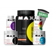Kit Whey PRO + Creatina + BCAA 2400 + Glutamina +Multivitaminico (BRINDE)