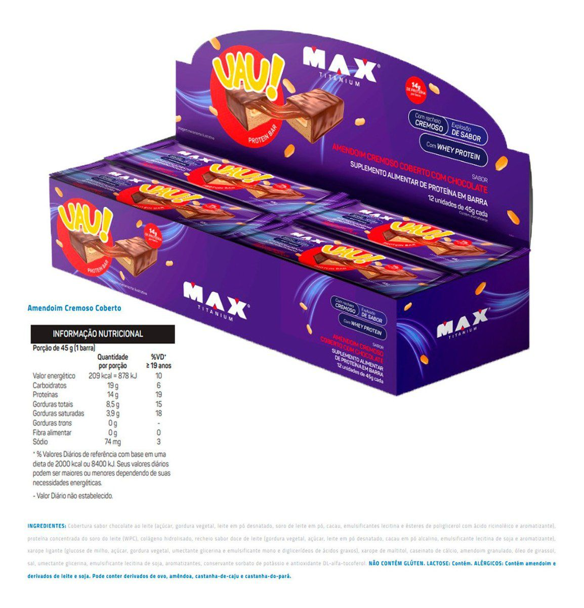 Barra de Proteína UAU! Protein Bar Max Titanium - CX C/ 12