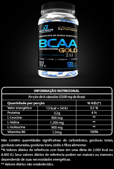 BCAA Concentrated Gold 2:1:1 Body Shape - 180 caps